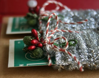 Tiny Wired Spiral Silver Tinsel Garland for Decorating and Crafting