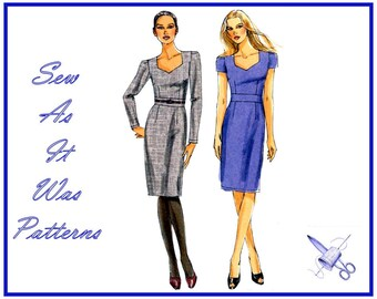 "FF UC 2010s Easy Vogue 8664 Sheath Slim Dress Sweetheart Neckline Midriff Long Short Sleeves Sewing Pattern Size 6 8 10 12 Bust 31 32 34 36"""
