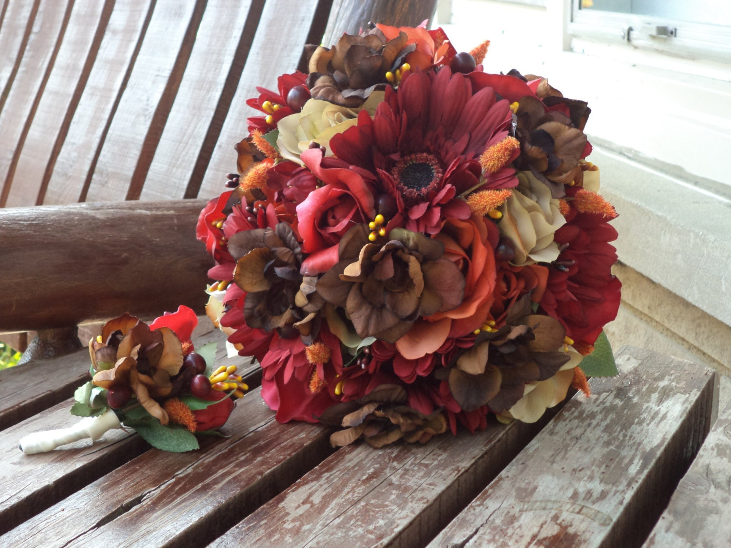 Fall wedding country wedding silk bridal bouquet with real zoom mightylinksfo Gallery
