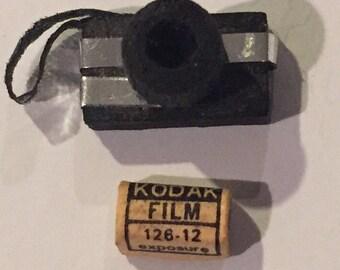 "Dollhouse miniature Camera and Film Barbie doll size .5"" camera"