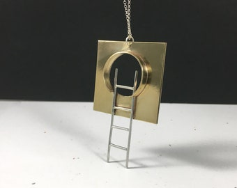 Portal Entrance with Ladder Pendant Necklace // Sterling Silver and Brass