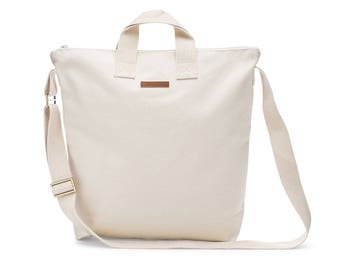 Natural 100% Cotton Blank Medium Canvas Adult Zipper Lined Tote Bag With Inside Pockets And Adjustable Crossbody Straps