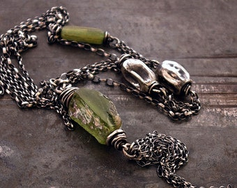USE CODE - 15OFF • SALE 15% • green ancient glass with raw sterling silver necklace • oxidized silver • long chain necklace Mother's day