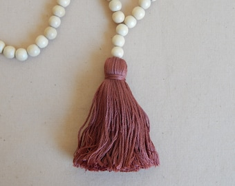 Long bead necklace with natural wood beads and a dark mauve tassel, bohemian style, beach boho, fall jewelry, layering necklace, yoga mala