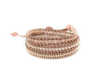 Autumn Rose 3 Wrap Bracelet