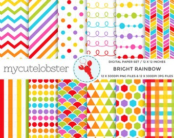 Bright Rainbow Digital Paper Set - rainbow patterned paper, polka, stripe, honeycomb - personal use, small commercial use, instant download