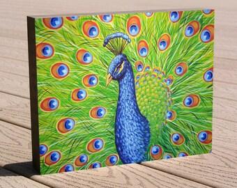 "Art print ...8 x 10 print mounted on cradled birch panel...ready to hang....""Splendor"", peacock art"