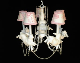 Carousel horse chandelier nursery chandelier childrens nursery chandelier leaping bunny rabbits childrens lighting aloadofball Image collections