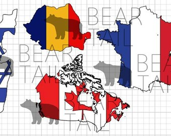 Flag Map Decal/Sticker-- Any Country