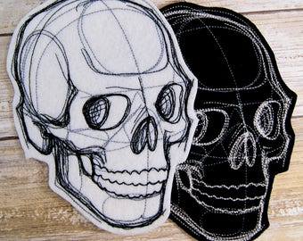 Sketchwork Skull Iron On Embroidery Patch MTCoffinz - - Choose Size / Color