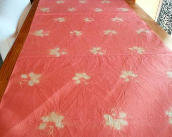 naturally dyed pink silk, Shibori dyed, Tsumugi kimono fabric, 37cm width, no.021