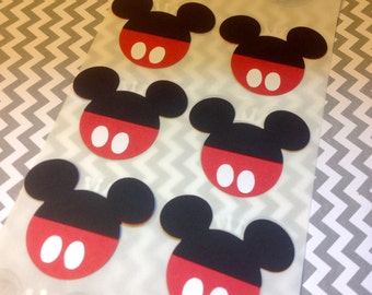 MICKEY MOUSE Heads Cut Outs Stickers Seals SET of 10