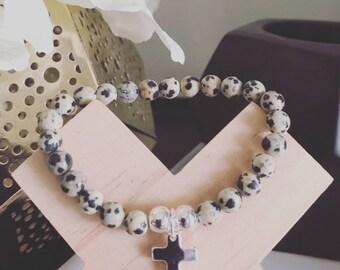 Dalmation Jasper Natural Stone Bracelet with Optional Sterling Silver Cross