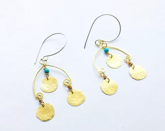 coin earrings, coin mobile dangle earrings, whimsical brass coin earrings