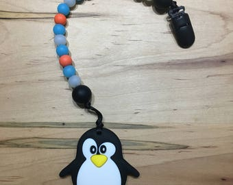 Penguin Silicone Bead Baby Teether /  Teething Toy / Baby Toy / Silicone Bead Teether