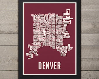 Denver typography map, denver neighborhoods print, denver map art, denver gift, denver city print