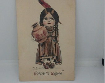 Spring Sale Antique Vintage Nobodys Squaw Postcard