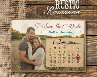 Rustic Save the Date Postcard with calendar—Red & Blue