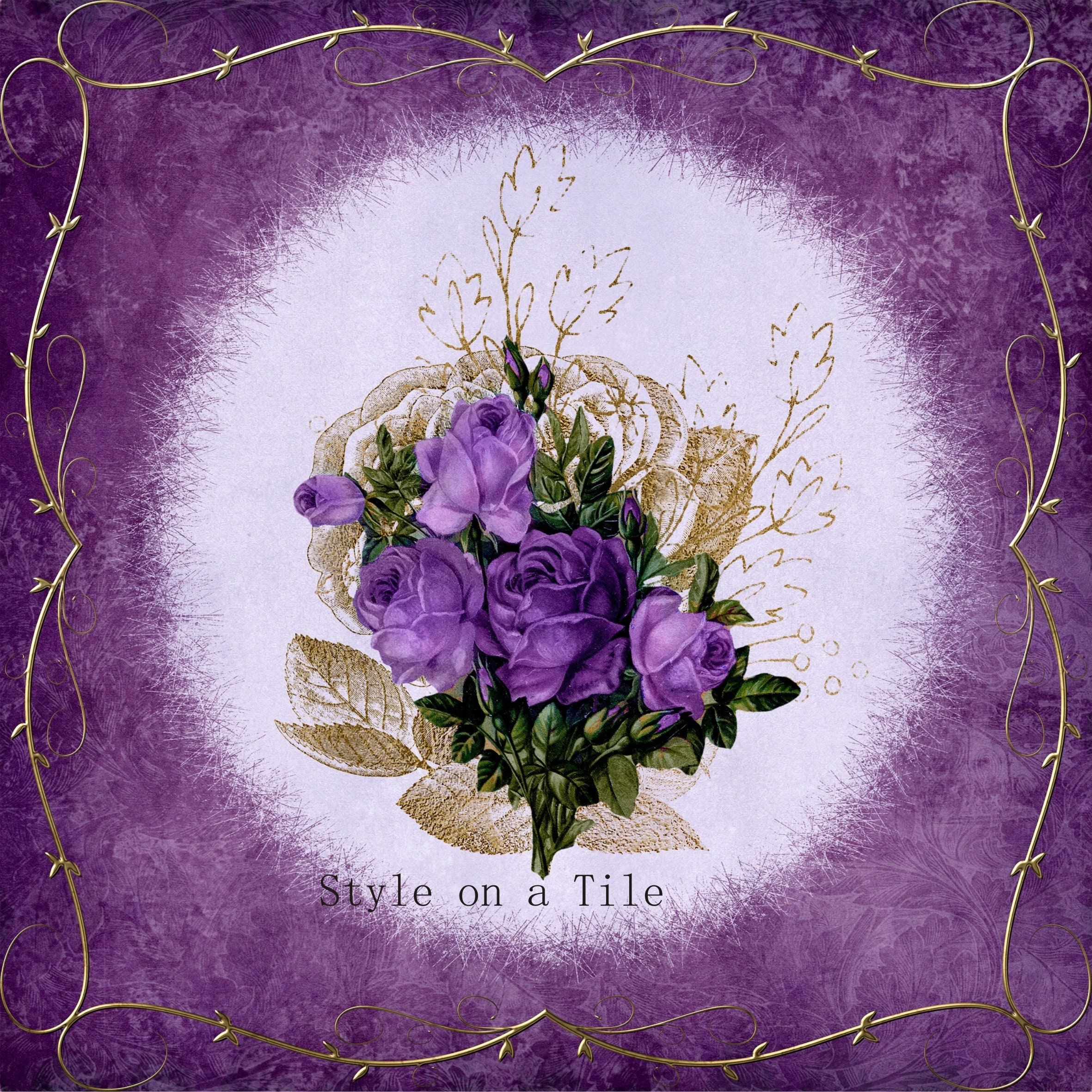 Lovely Purple Violet Lilac Rose Flower Bouquet Shabby Chic Chintz ...