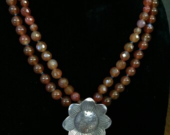 Double Strand Faceted Red Agate Necklace with Hill Tribes Silver Sunflower Pendant