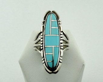 Vintage Hallmarked Sterling Silver Turquoise Inlay Ring Southwest Native American FREE SHIPPING! #SUN-SR8