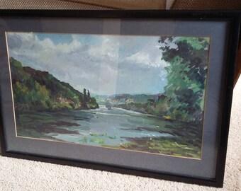 Vintage Original Painting of a Lake and Hills Landscape