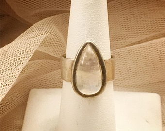 Vintage Teardrop Moonstone Statement Sterling Silver Ring