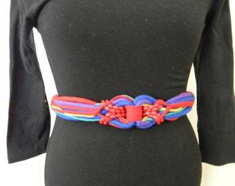 1980s Multicolored Belt. Cinch Belt With Hook.