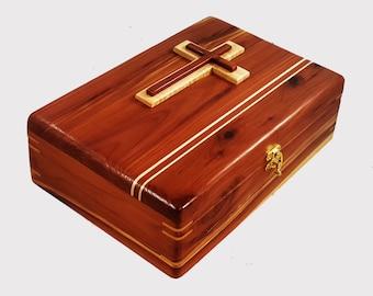 Cedar,Bible Box,Bible Study,Family History,Bible Case,Bible Holder,Bible Stand,Bible Accessories,Cedar Box,Cross,Wood Box,Family Bible,Bible