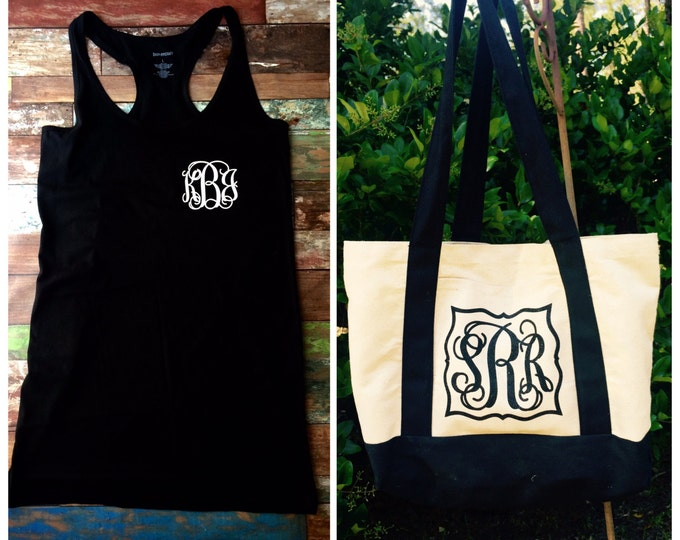 Monogram Swimsuit Coverup and Monogram Beach Bag Set, Monogrammed Gifts, Bridesmaid Gifts, Personalized Bridesmaid gifts
