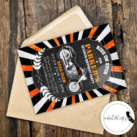 Harley davidson birthday party invitation chalkboard like this item filmwisefo Image collections