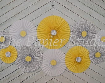 Chevron Gray, Yellow and White Set of 10 (TEN)    paper fans/rosettes, decorations for Baby Shower,Birthday Party or Wedding