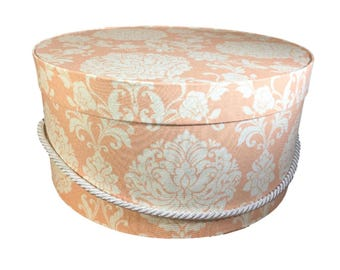 Hat Box in Peach Damask, Large Decorative Fabric Covered Hat Boxes, Round Storage Box, Keepsake Boxes with Lid, Nesting Boxes, Derby Hat Box