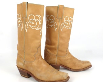 Campus Cowboy Boots Vintage 1980s Justin Roper Distressed Women's size 6