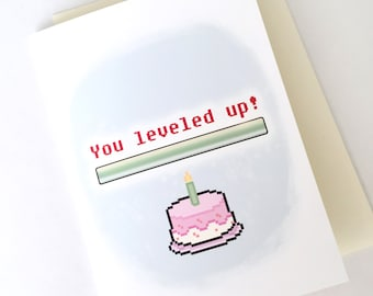 Level Up Birthday Card // Geeky Birthday Card // Gamer Greeting Card // 8-bit Card Art