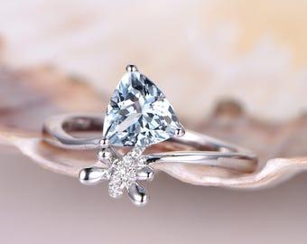 New Design Aquamarine Engagement Ring Aquamarine Ring 1.18ct Trillion Cut Blue Gem Stone 14K White Gold Bridal Ring Promise Ring