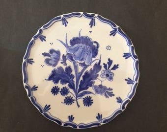 Rare Beauty De Porceleyne Fles Delft Blue and White Wall Plate With Flower Design