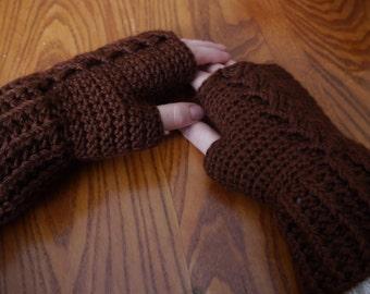 Crochet Handwarmers (Fingerless Mitts) - Chocolate