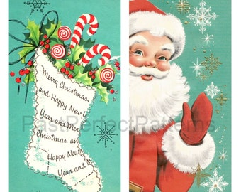 Digital Image Jolly Santa And Christmas Stocking Vintage Retro 1950s Cards Scrapbook Holiday Gift Tags Candy Cane