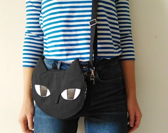 Black Cat Bag - Canvas Crossbody Handbag - Small shoulder bag - Gift for cat lovers
