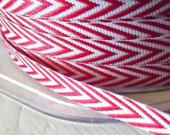 Chevron Stripes Red Twill  Ribbon 1/4 inch  2 yards