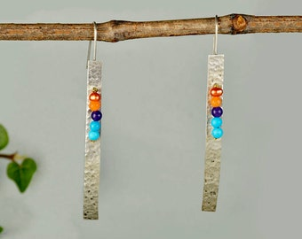 Multicolor silver earrings, long hammered earrings, sleek bar earrings, geometric jewelry, rectangular earring, gift for mom, modern drops.