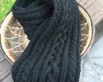 Gorgeous pure wool cable knit scarf, 100 percent wool hand knitted scarf, black wool scarf