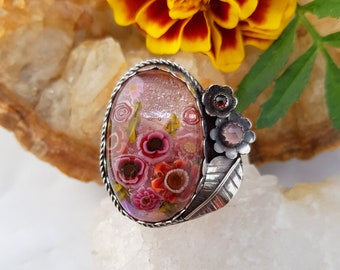 Cranberry Ruby Florals, Gerberas & Roses Sterling Silver, Garnet Lampwork Glass Silversmith Ring