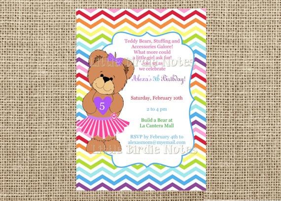 Items similar to teddy bear invitation build a bear birthday girl items similar to teddy bear invitation build a bear birthday girl birthday invite casbury lane on etsy filmwisefo Images
