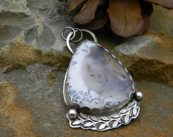 Dendritic Opal Pendant - sterling silver - oxidized and rustic - with or without chain