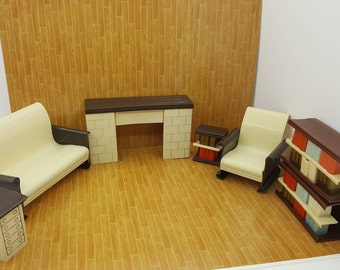 Ardee Plastics Inc Living room Furniture Doll House Toy Rare 1946 book shelves fireplace