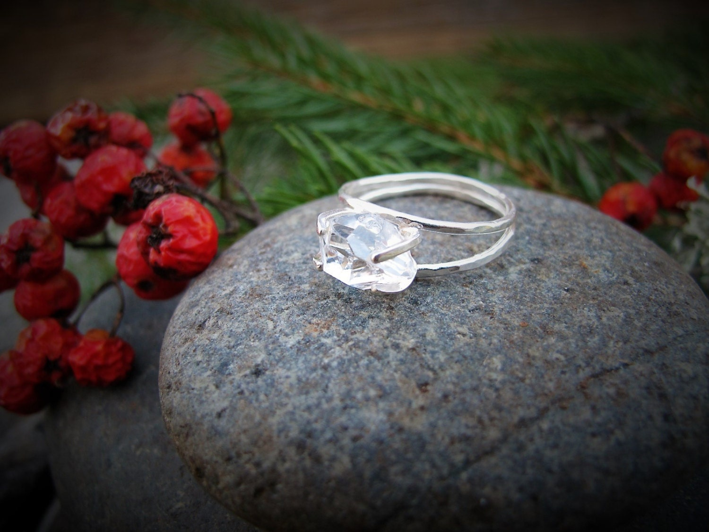 Herkimer Diamond Non Traditional Wedding Band Statement Ring