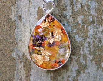Flower Resin Charm Necklace with Gold Leaf,  teardrop pendant, women accessories, boho, bohemian, real flower jewelry, silver necklace
