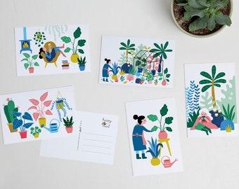 Gardening colorful postcards garden botanical nature plants / ansichtkaarten - set of 5 - design by Heleen van den Thillart